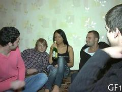Teen honey gets gang banged while her boyfriend watches
