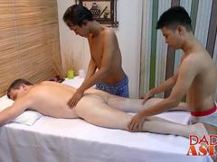 Horny dude gets fucked by two Asian guys after hot massage