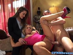 Busty femdoms cocksuck and pussylick in trio