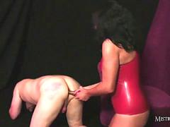 Hot horny mistress fucks her wet pussy with steel cock then toys slaves tight ass
