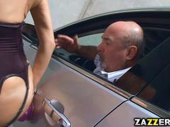 Veronica Avluv moans in the parking lot