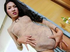 Big cocked asian trans babe