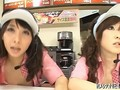 Mesmerized Japanese fast food workers get fucked doggy style in public