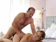 Dude bangs his small tittied Milf in bed