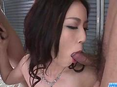 Sera Ichijo, brunette Asian, swallows after naughty trio