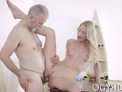 Pale blonde beauty gets fucked by a fat old man