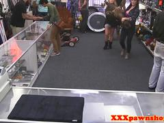 Busty pawnshop babes fucking in trio for cash