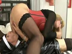 Tranny nun caught wanking takes blonde shemales cock in her ass and cum in mouth