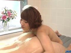 Risa gets busy with cock during soapy xxx play