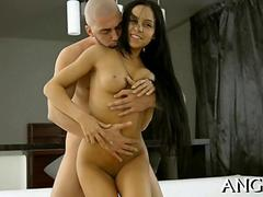 hot and sexy brunette with long hair getting fucked thoroughly