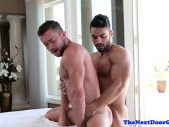 Ripped masseur amateur assfucking stud