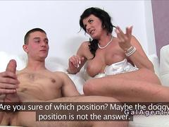 Milf female agent fucks handsome guy in casting