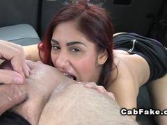 Hot redhead gives rimjob with a passion in fake taxi