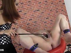 Mistress Tiff kicks and spanks slave then gives ball busting and cock trampling