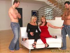 Glamcore cfnm babes doggystyled in fourway