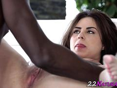Hot babe rides black cock