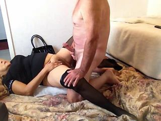old man with a fine cock fucks a granny in black lingerie