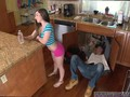 Dad likes friends daughter starts playing with his package with her feet