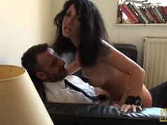 Humiliated british skank dickriding cowgirl
