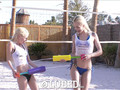 LUBED Super soaker fight turns into outdoor threesome