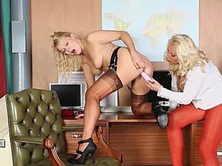 hot busty blonde office sluts have lesbian pussy play on office desk