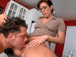 brunette milf with glasses needs to ride a big meat pole