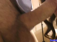 English milf sucking cock and wanking it off