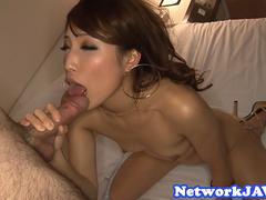 Smalltits asian milf suck a fat cock