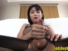 Pretty ladyboy blowjobs and jerking off her hard cock