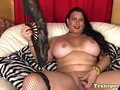 Chubby shemale in stockings wanking her cock