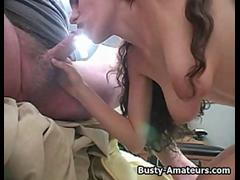 Busty amateur Jane blows cock on POV