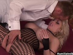 HumiliatedMilfs - Her crotch-less fishnets make his cock rock-hard