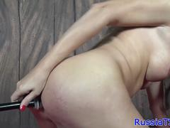 Busty russian trans uses hot wax and candles