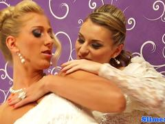 Lesbo brides riding bukkake cock at gloryhole