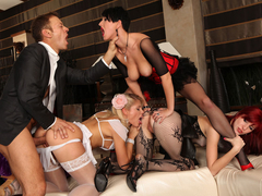 Rocco bangs hard his slutty hot girls with great desire