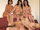 Four horny matures having a sexparty with a young guy