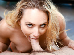 A blonde knockout babe gives a head to a monster cock in pov shoot
